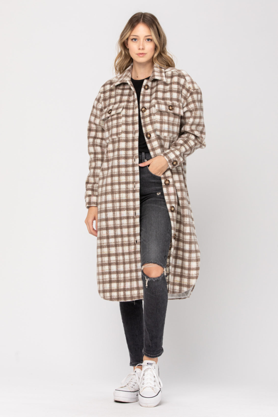 Clay Joan Plaid Shirt Coat