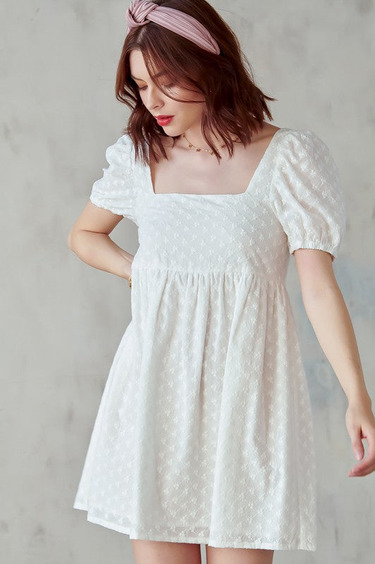 Eyelet Puff Sleeve Babydoll Dress