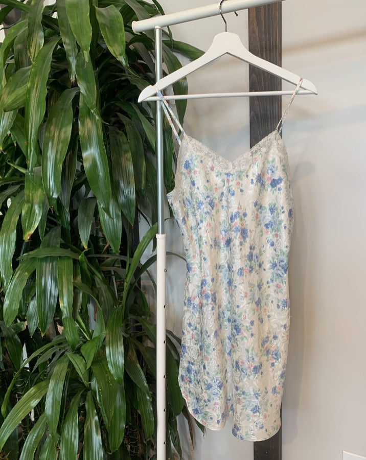 Vintage Floral Mini Slip Dress
