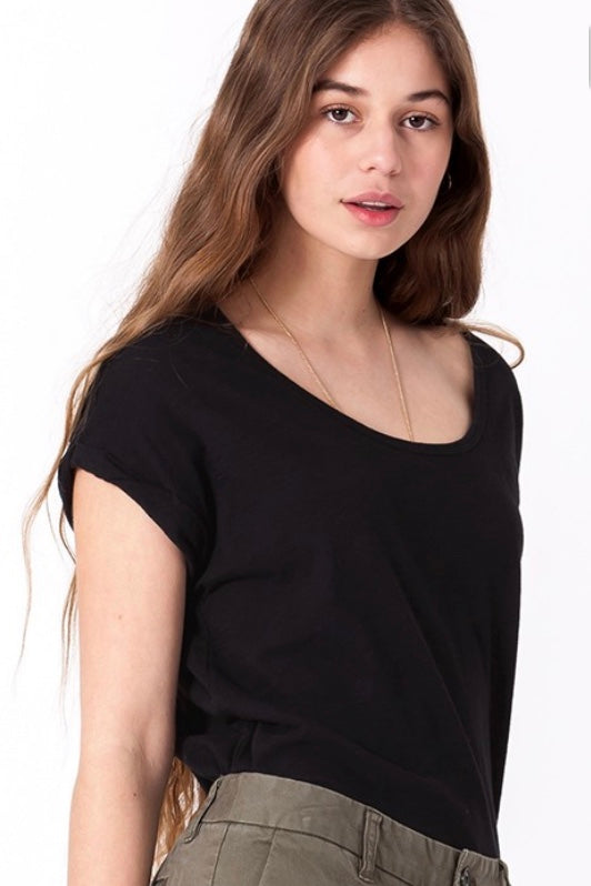 Black Scoop Neck Roll Sleeve Tee - SISTER LB