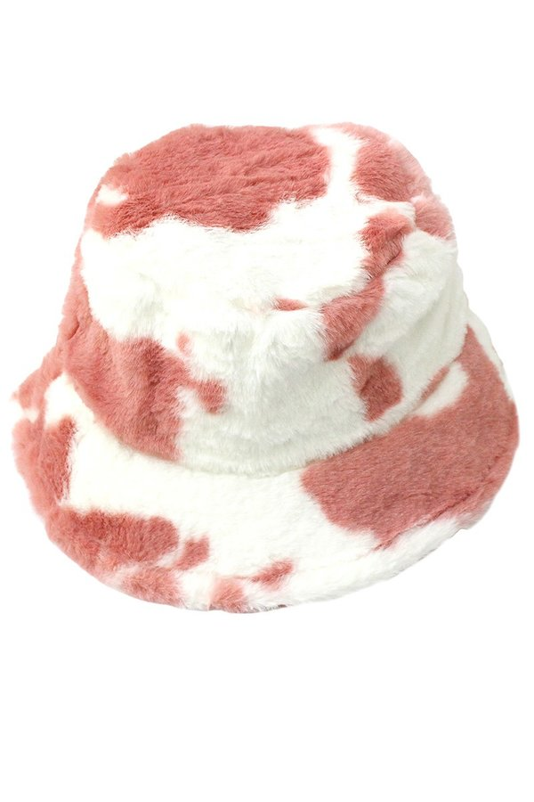 Fuzzy Cow Bucket Hat