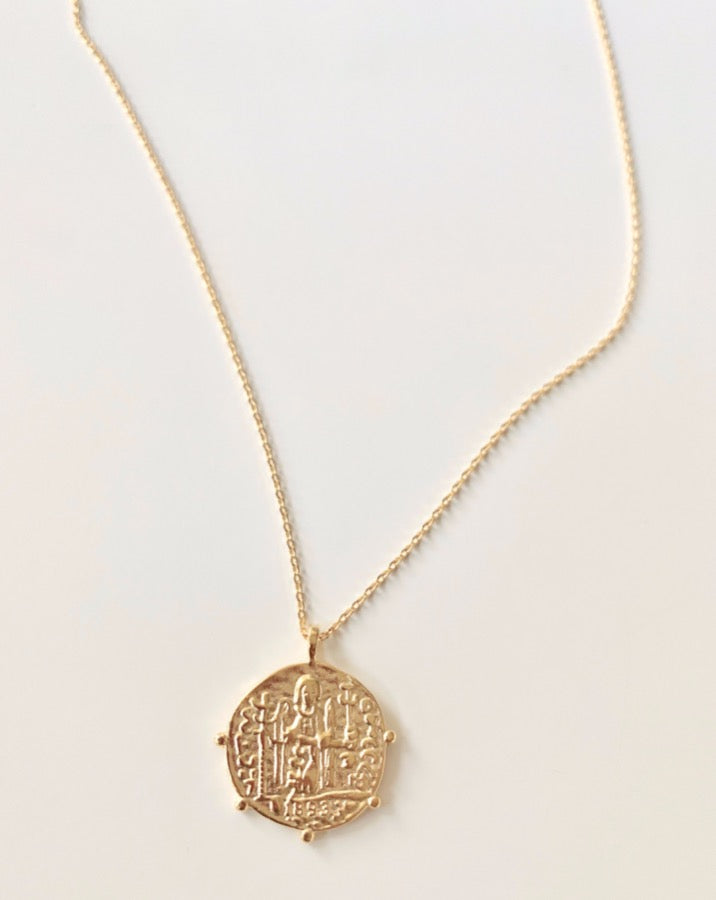 Gold Ancient Coin Necklace