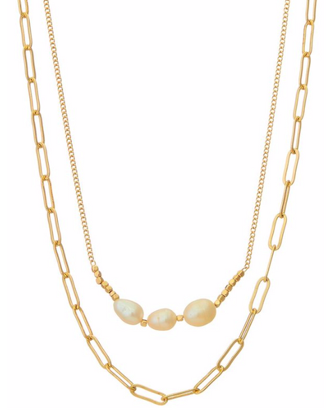 Gold Freshwater Pearl Layered Necklace