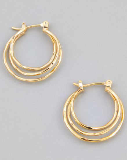 Gold Layered Latch Hoop Earring