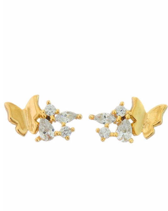 gold mini butterfly jewel stud earring and then lb