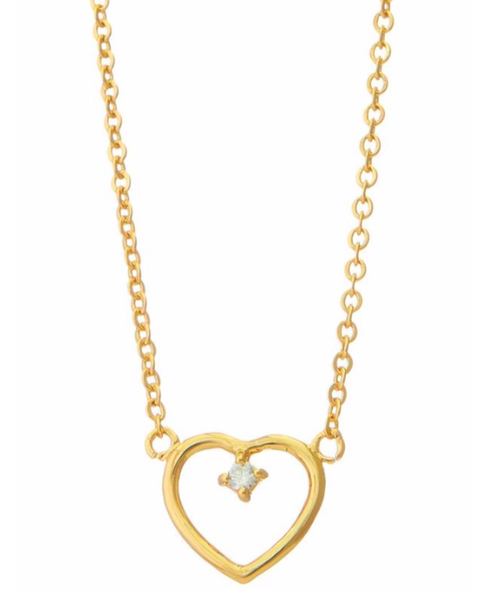 gold mini heart pendant stone necklace