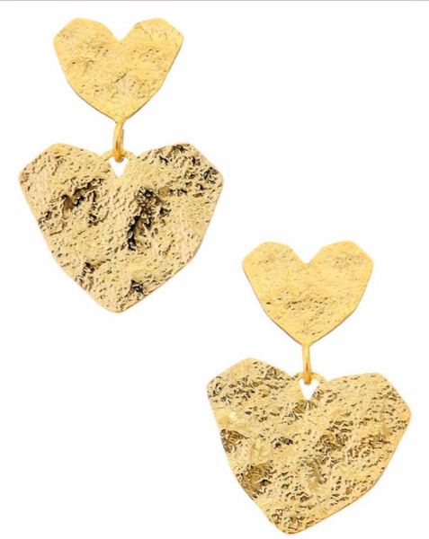 Gold Paper Heart Earrings