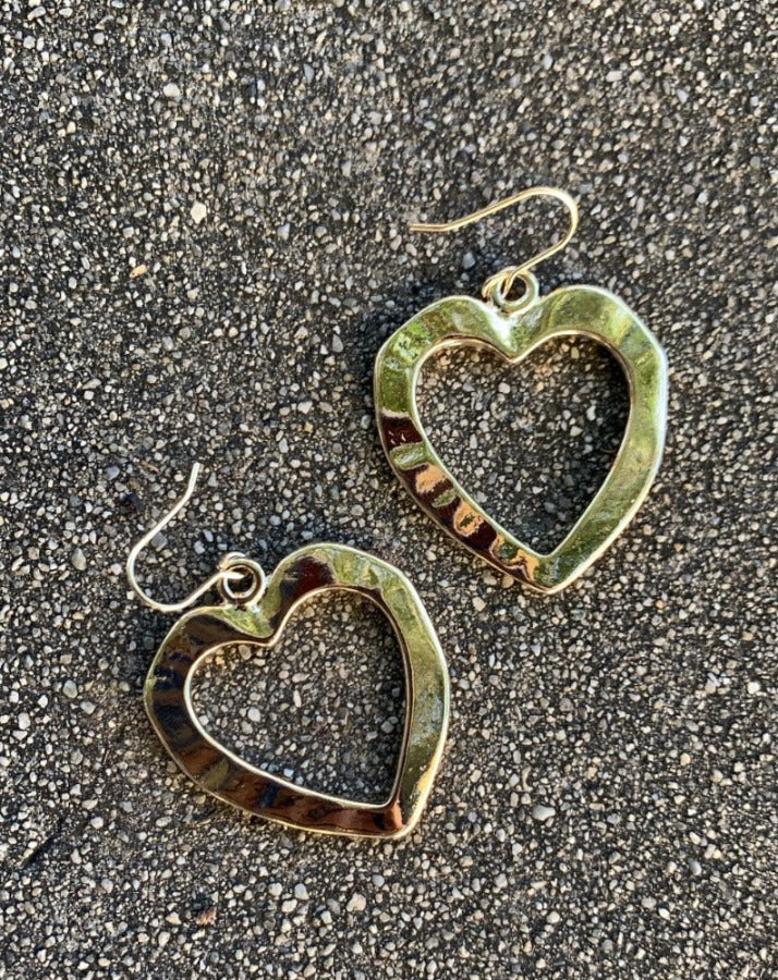 Textured Heart Hanging Earrings