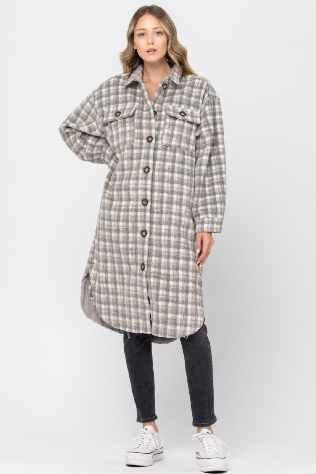 Gray Joan Plaid Shirt Coat