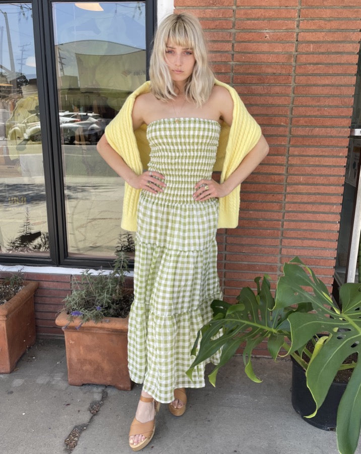 The Jeanie Green Gingham Smocked Maxi Dress