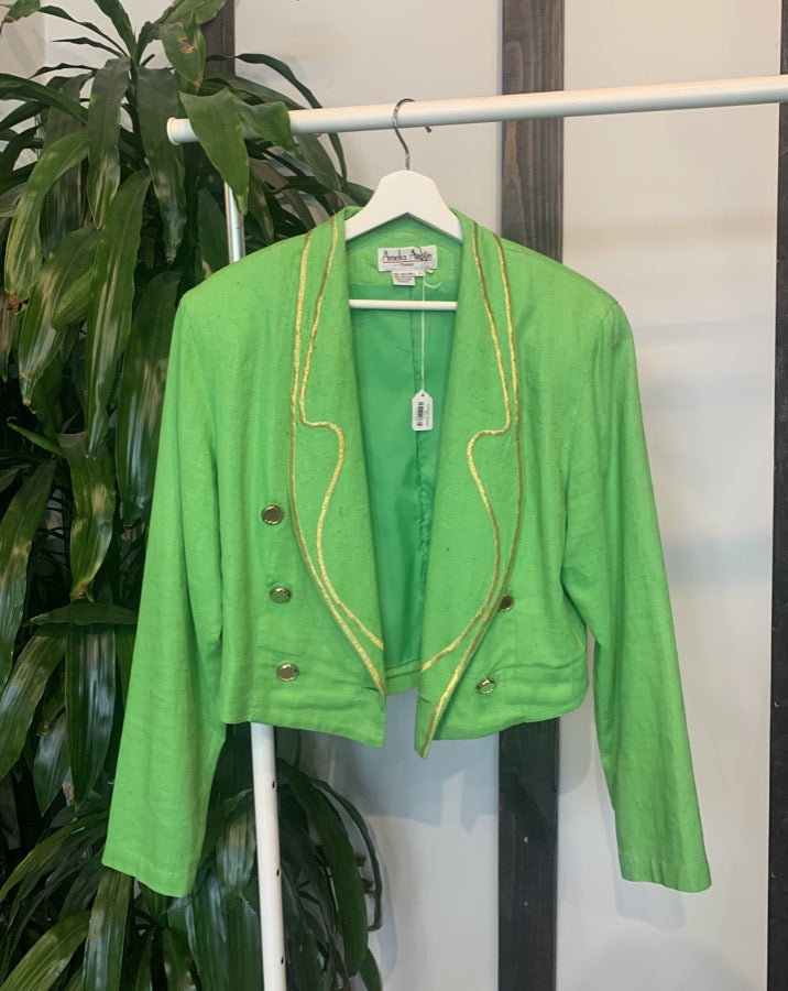 Vintage Green and Gold Detailed Blazer