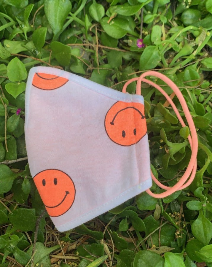 Pink Happy Face Print Mask