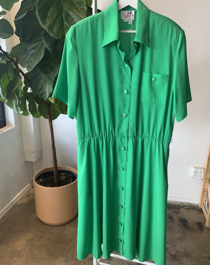 Kelly Green Button Up Dress - SISTER LB