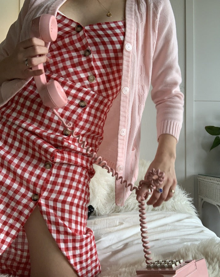 Red & White Gingham Midi Dress - SISTER LB