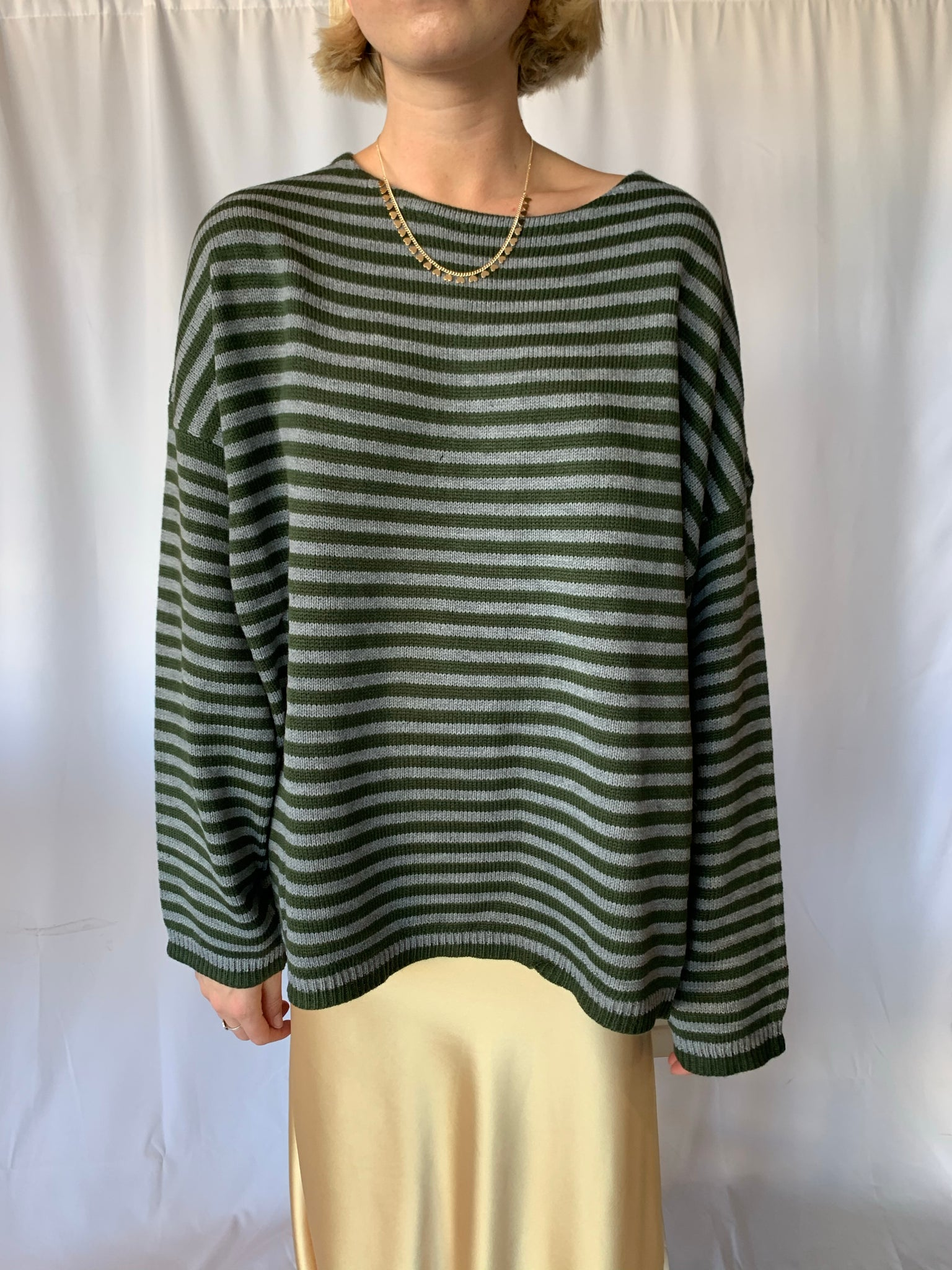 Green and Gray Striped Sweater