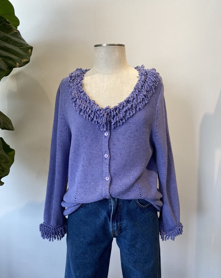 Purple Shag Trim Cardigan - SISTER LB