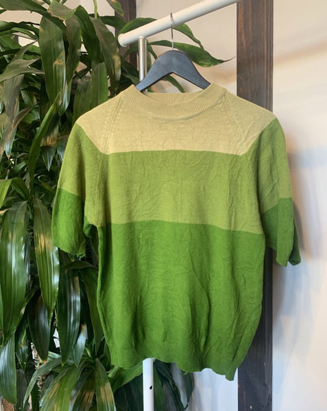 Vintage Green Striped Sweater Top
