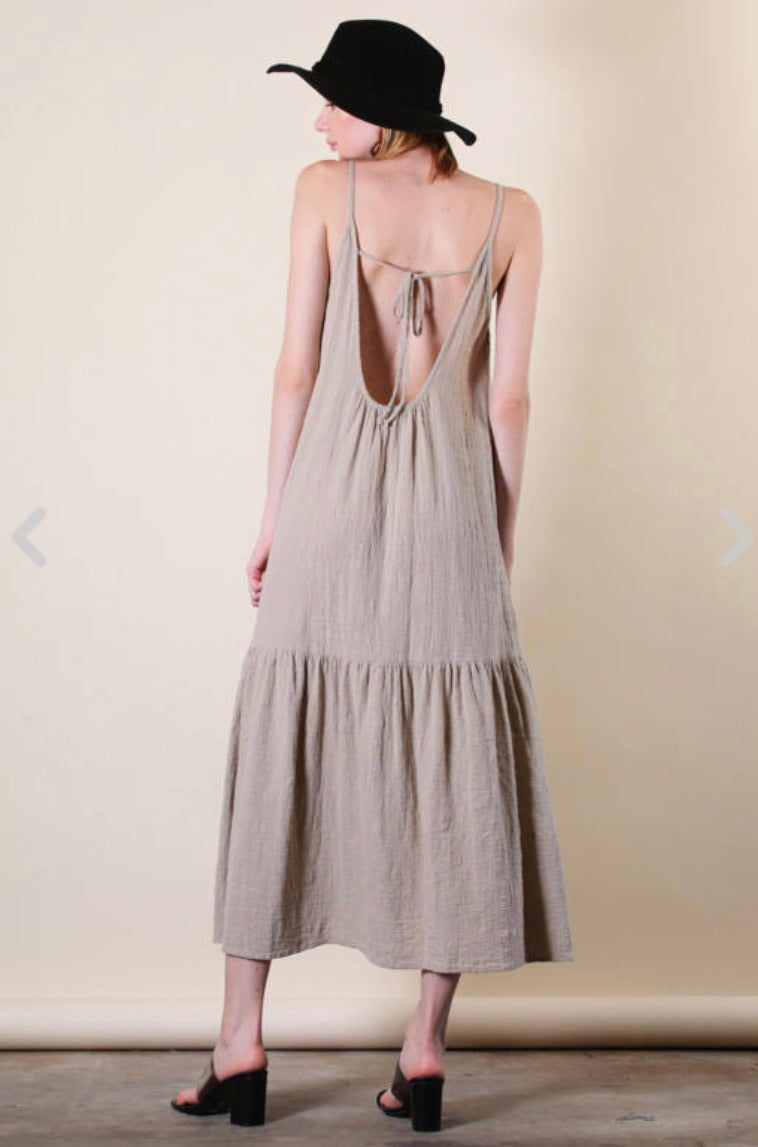 Taupe Gauze Maxi Dress