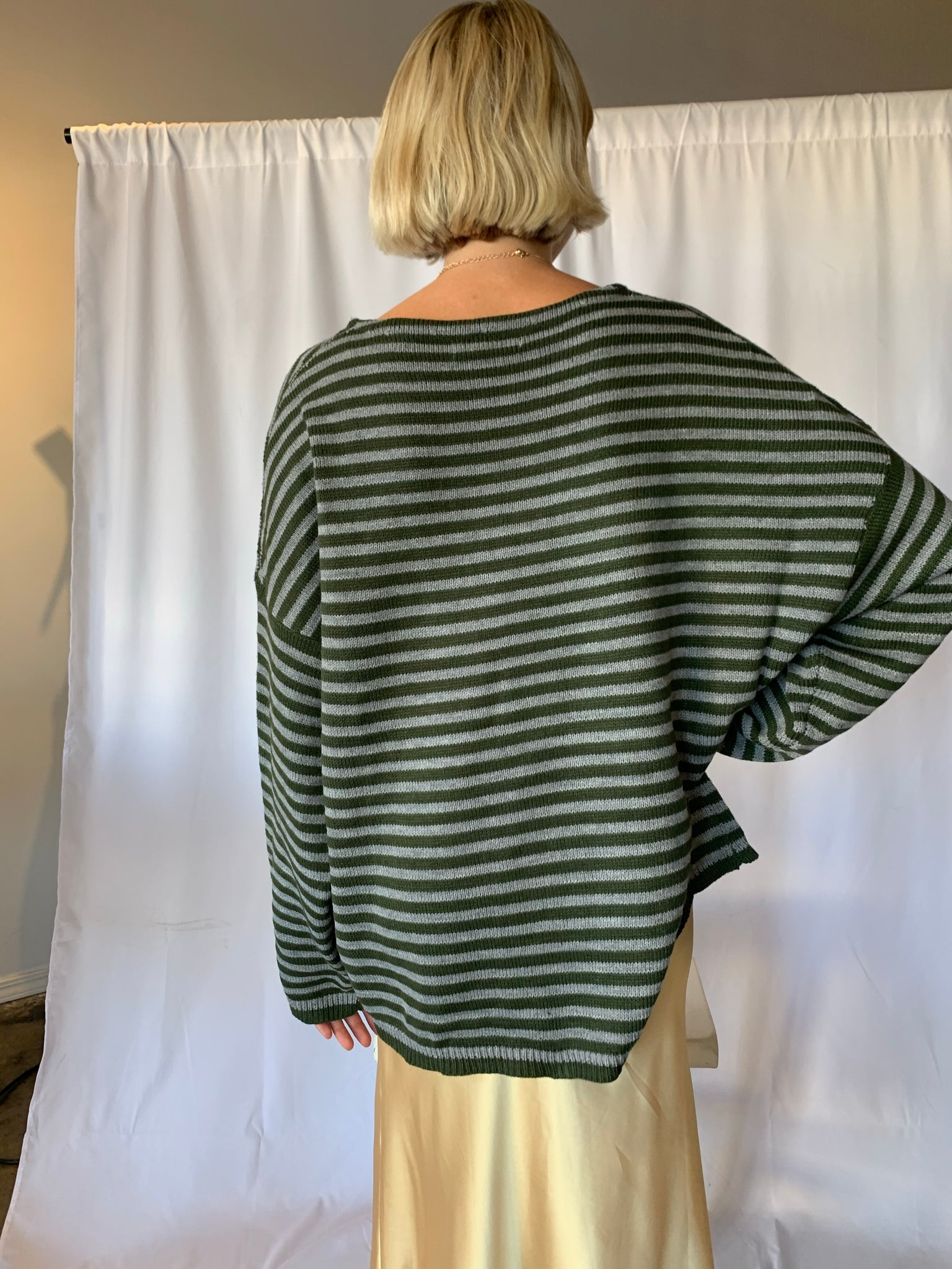 Green and Gray Striped Sweater - SISTER LB