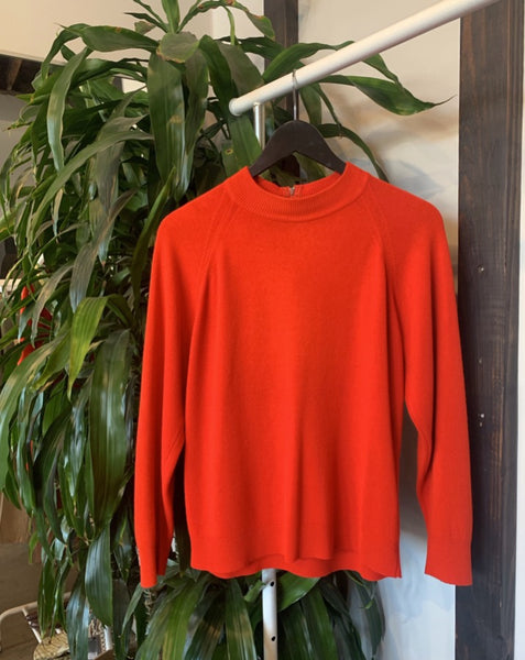 Vintage Cherry Red Mock Neck Sweater