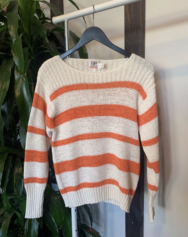Vintage Orange Striped Sweater