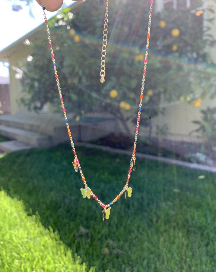 Beaded Butterfly Necklace - SISTER LB