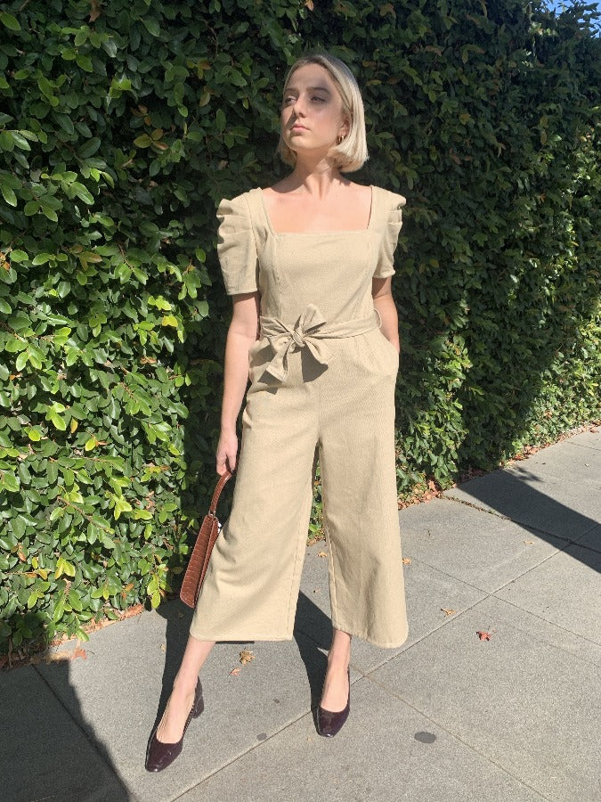 Square Neck Canvas Puff Sleeve Jumpsuit - SISTER LB