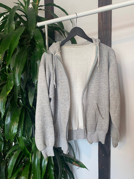 Vintage Heather Gray Zip-Up Hoodie