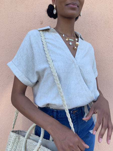 Oatmeal Linen Collar Top
