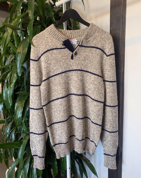 Vintage Striped Henley Sweater