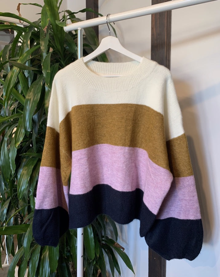 Lavender Brown Striped Sweater