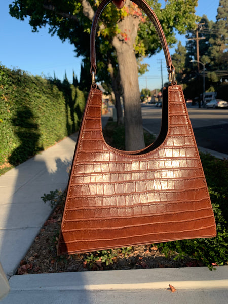 Brown Faux Croc Camille Tote