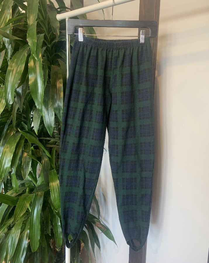Vintage Green Plaid Stirrup Pants