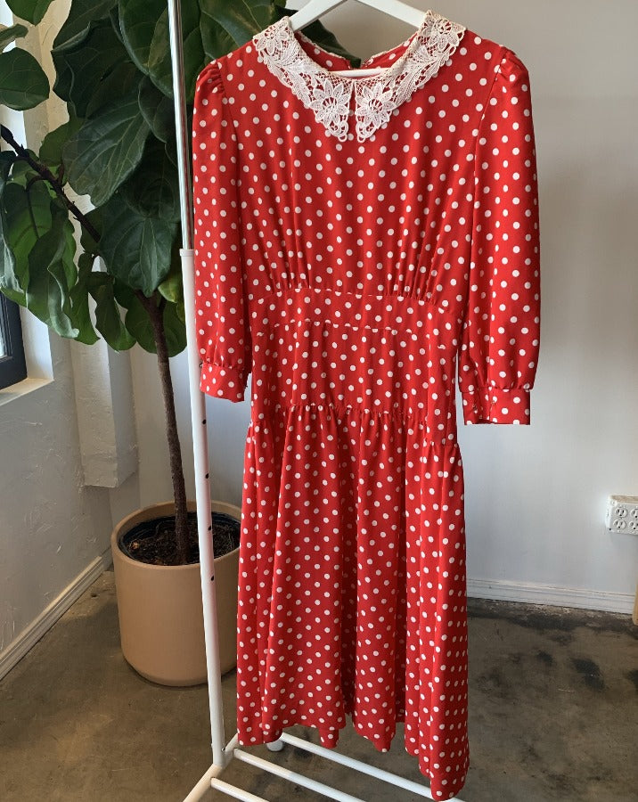 Lace Collar Polka Dot Dress