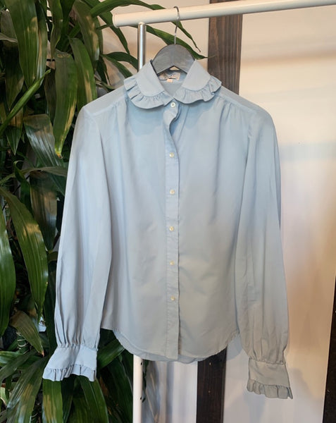 Vintage Baby Blue Ruffle Collar Blouse