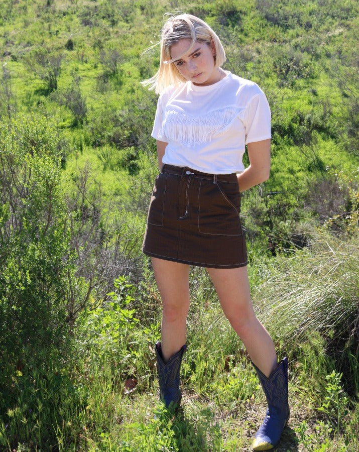 Brown Contrast Stitch Mini Skirt - SISTER LB