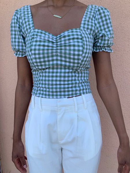 Green Gingham Puff Sleeve Top