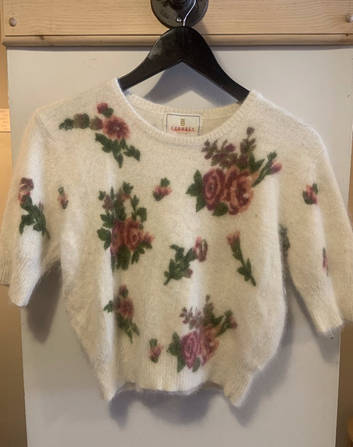 Vintage Floral Short-Sleeve Sweater