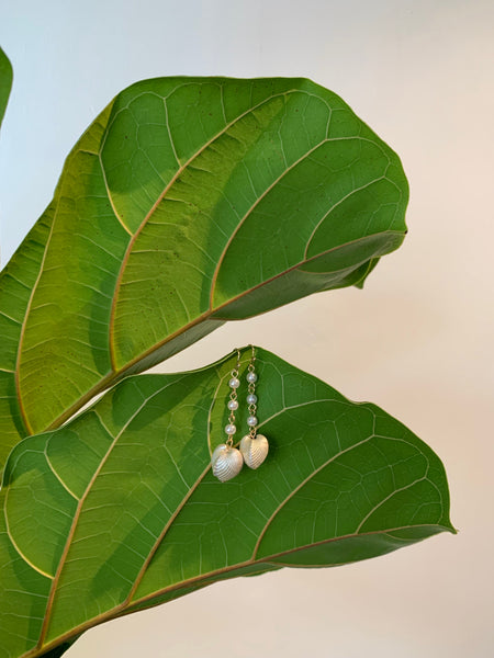 Gold Freshwater Pearl Shell Drop Earrings