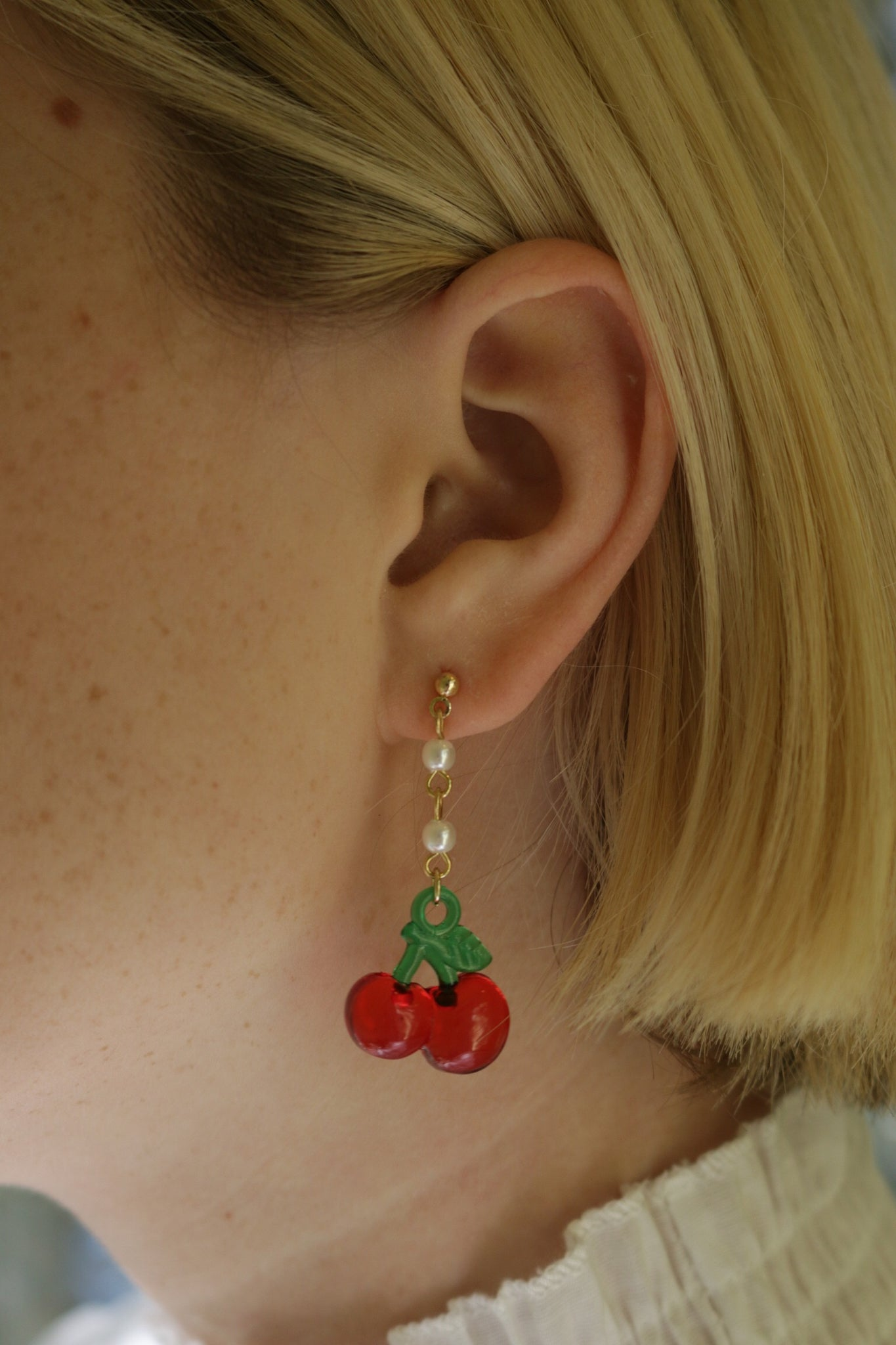 Gold Cherry Pearl Drop Earrings