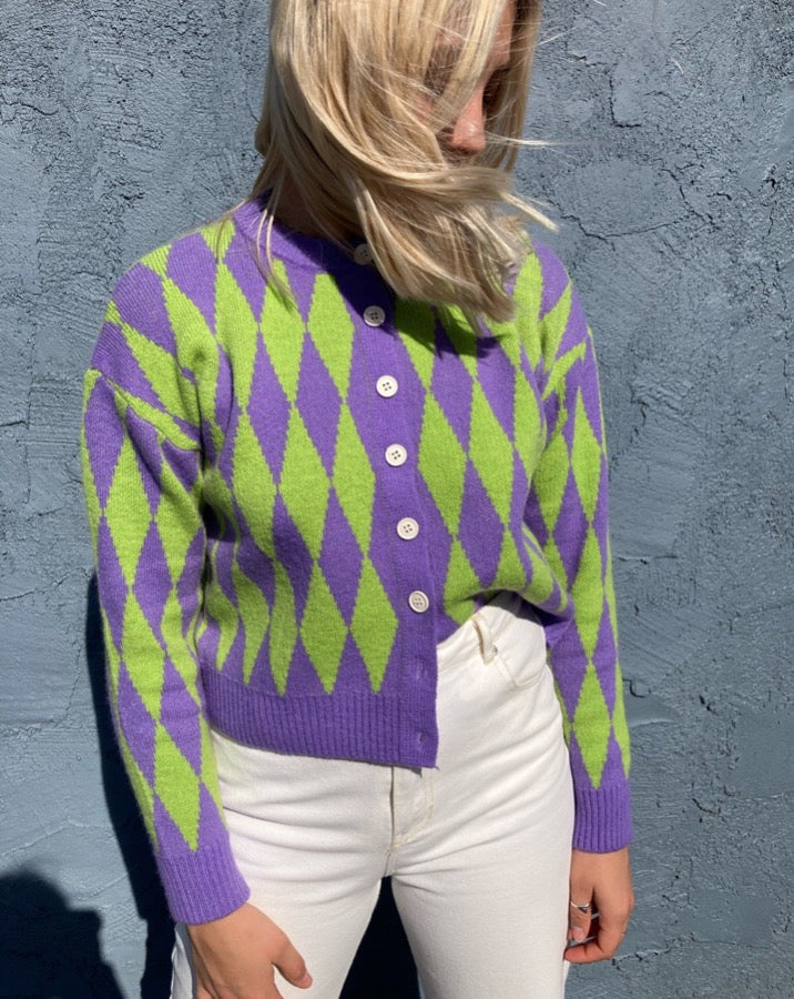Lime and Purple Argyle Cardigan Sweater