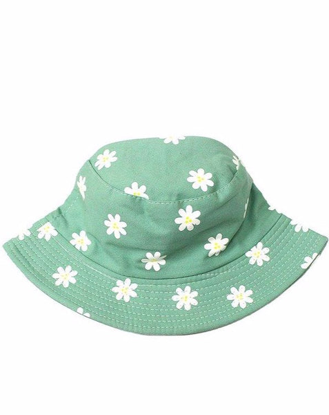 Mint Printed Daisy Bucket Hat