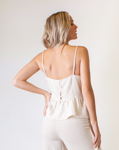 Natural Linen Peplum Top
