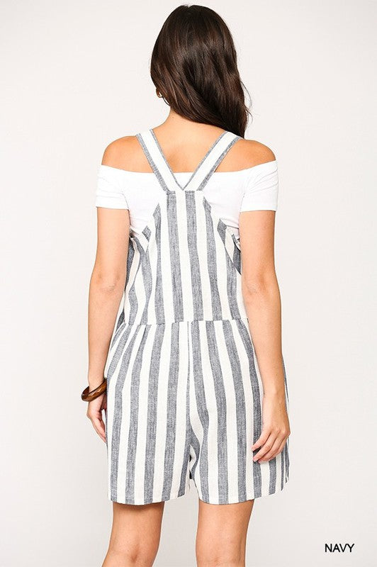 Navy Striped Linen Shortall