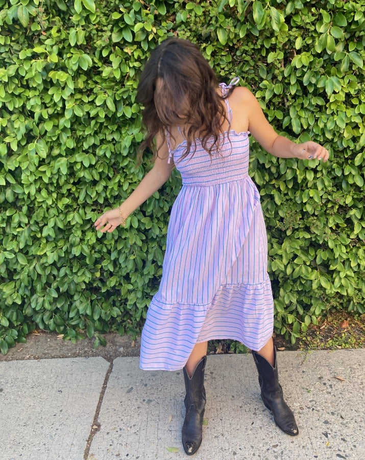 Orchid Striped Smocked Dress