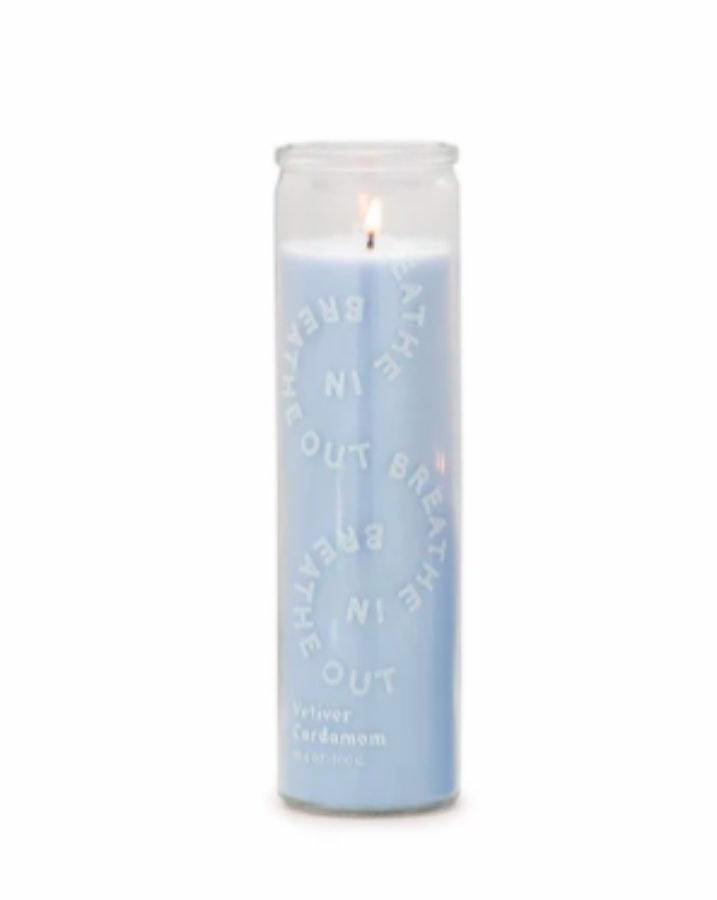 "SPARK 10.6 OZ SKY BLUE ""BREATHE IN, BREATHE OUT"" PRAYER CANDLE / RESTORATION - VETIVER CARDAMOM - SISTER LB"