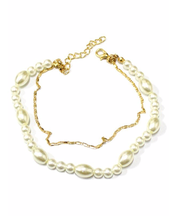 Pearl Chain Layered Anklet