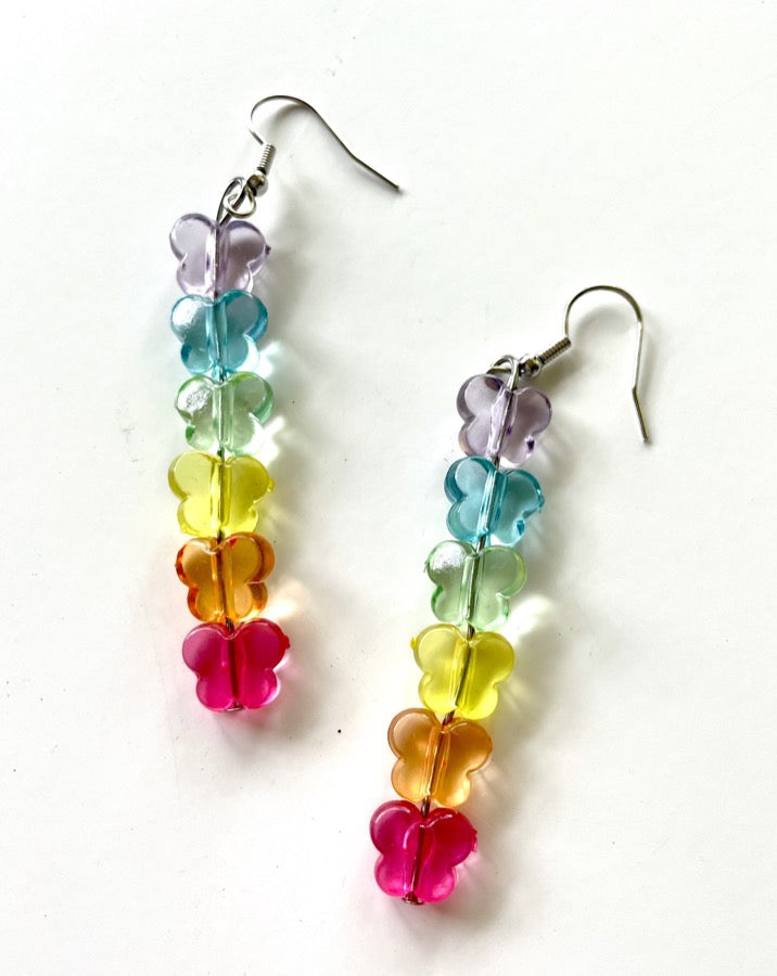 Rainbow Butterfly Strand Earrings