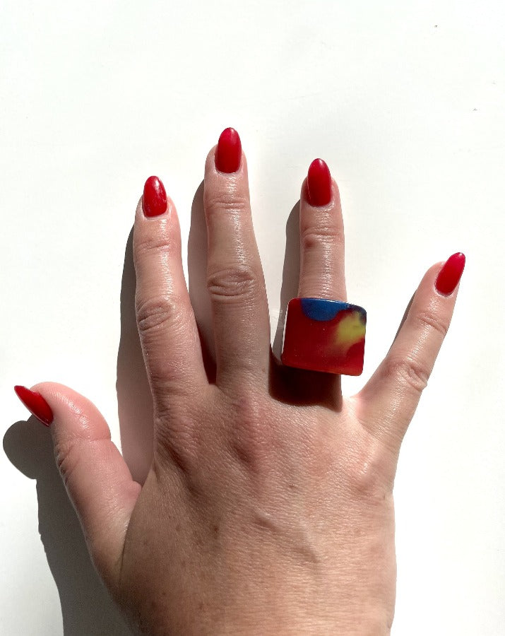 Red Acrylic Marble Ring
