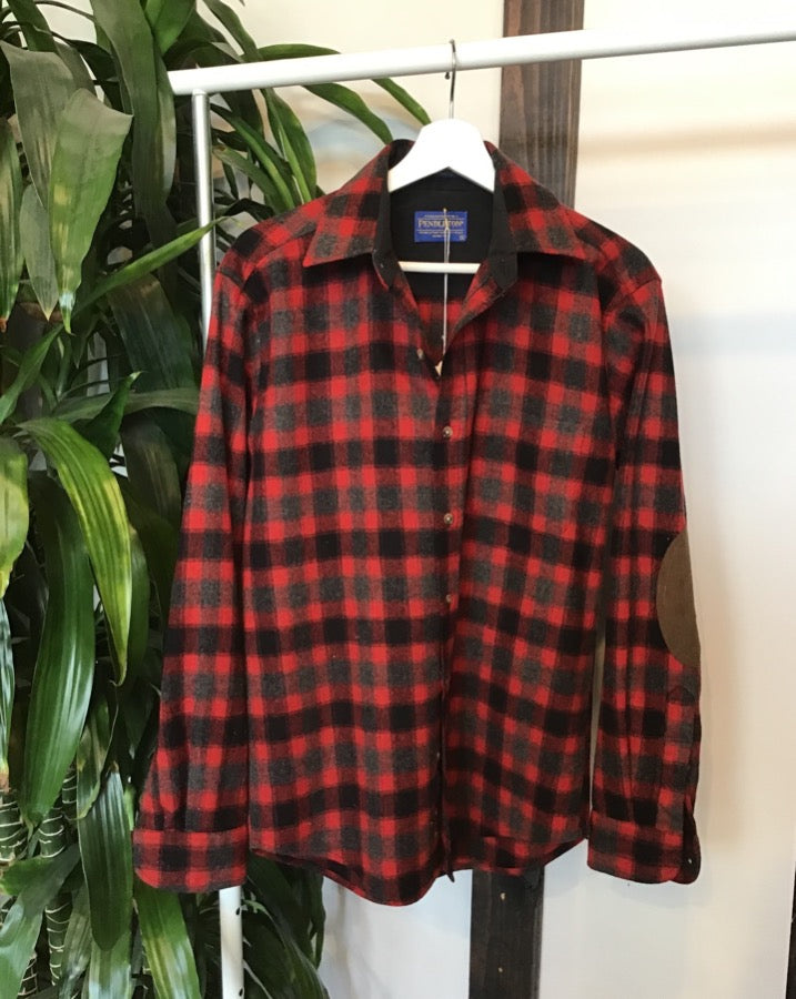 Red and Grey Pendleton with Elbow Patches